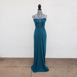 DIANE VON FURSTENBERG Leticia Teal Maxi Dress